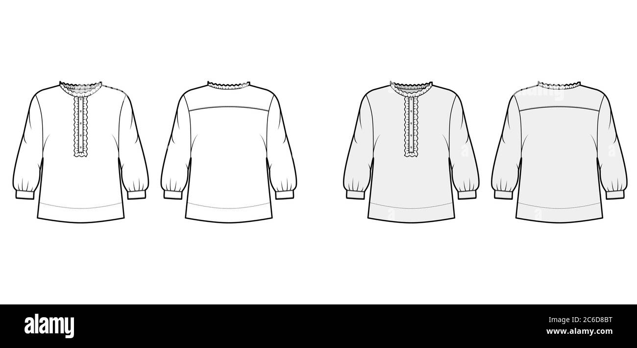 Shirt Technical Fashion Illustration With Oversized Body Concealed Button Fastenings Along Front Ruffles Cropped Sleeves Flat Apparel Template Front Back White Color Women Men Unisex Mockup Stock Vector Image Art