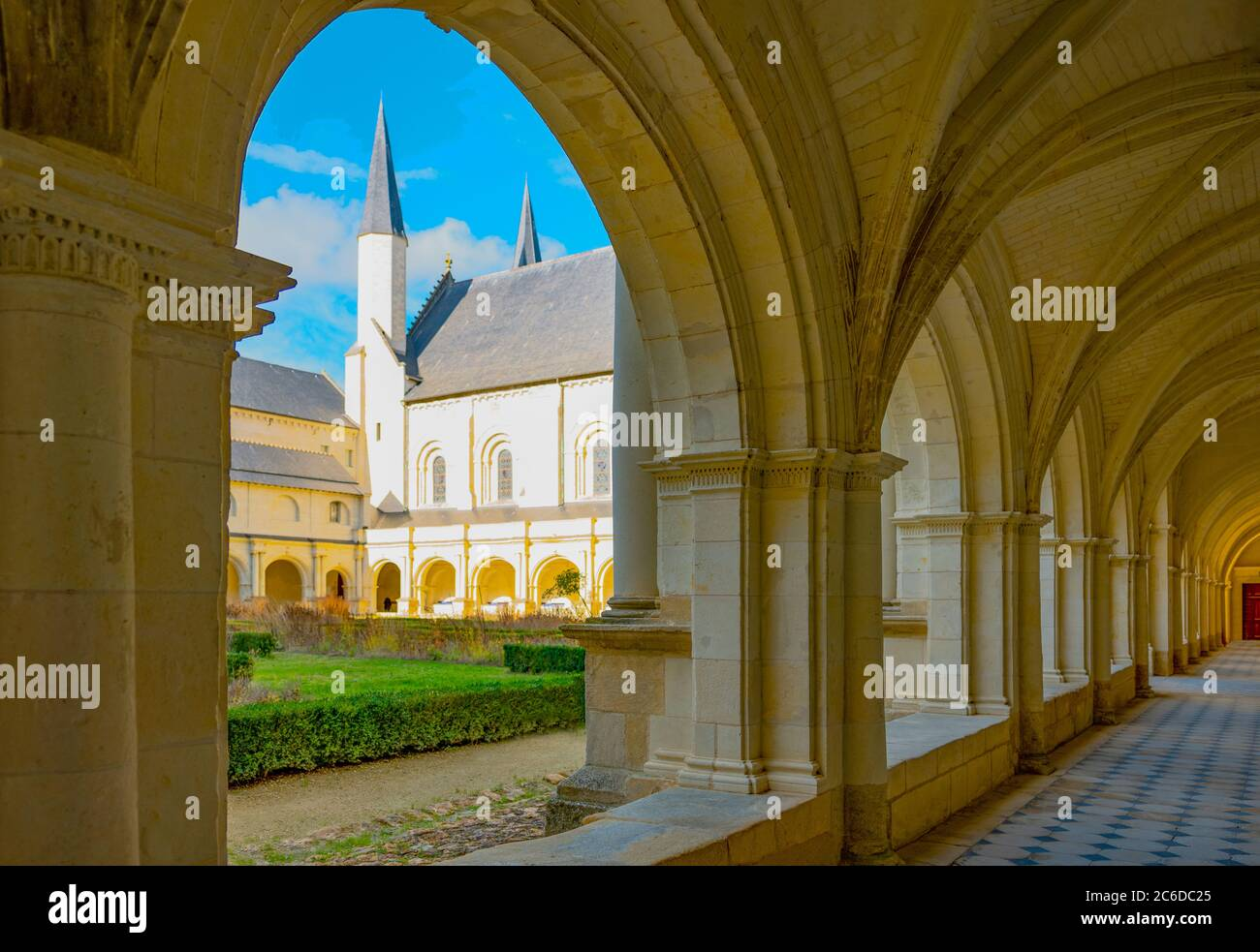 Fontevraud L'Abbey, France, The main cloister of of the Royal Abbey, Stock Photo
