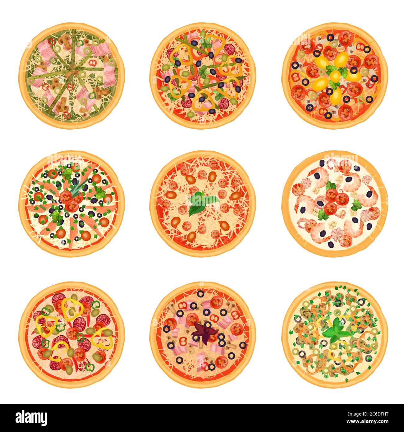 Different pizza food icons set collection isolated. Stock Vector