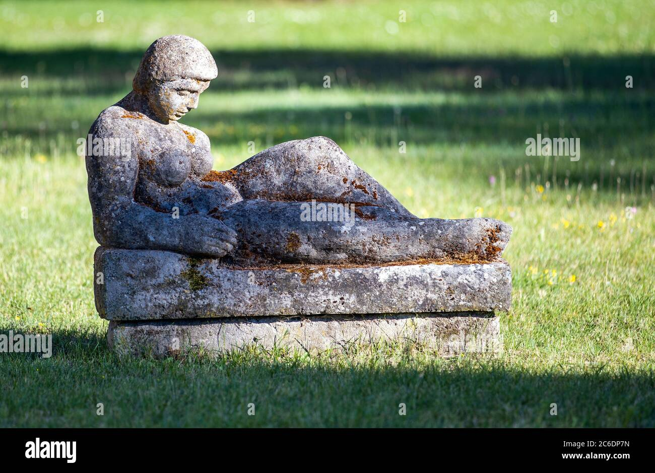 Neustrelitz, Germany. 23rd June, 2020. Sculptures in a green area behind the Kavaliershaus at the present Schlossplatz. Credit: Jens Büttner/dpa-Zentralbild/ZB/dpa/Alamy Live News Stock Photo