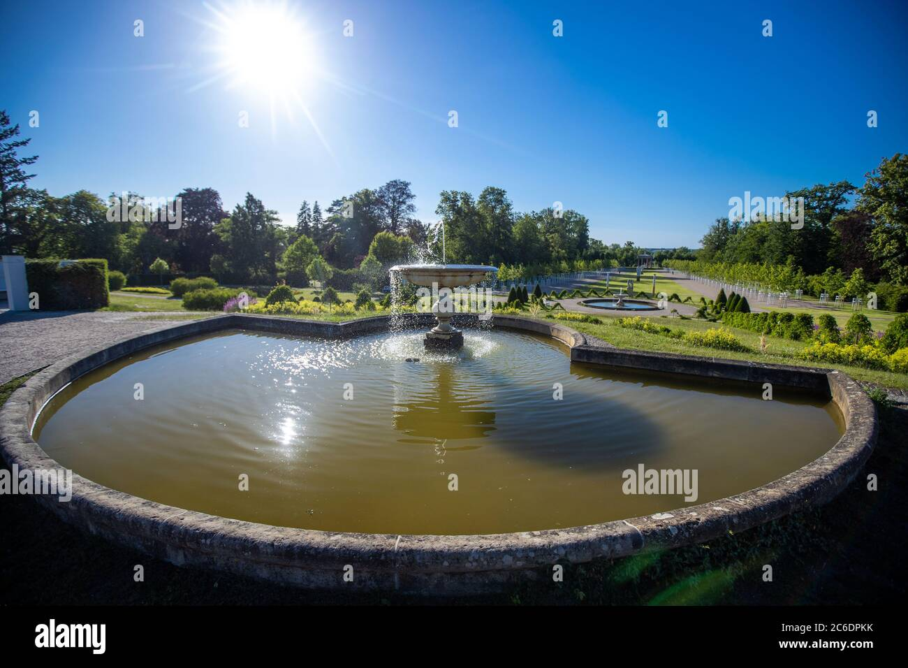 Neustrelitz, Germany. 23rd June, 2020. The palace garden was completed in 2019 after about ten years of construction and opened to visitors. The BBL Mecklenburg-Western Pomerania Construction and Real Estate Company, together with monument conservationists, restored the original state of the baroque park in several construction phases according to old plans. A total of 7.6 million euros were invested from state and EU funds. Credit: Jens Büttner/dpa-Zentralbild/ZB/dpa/Alamy Live News Stock Photo