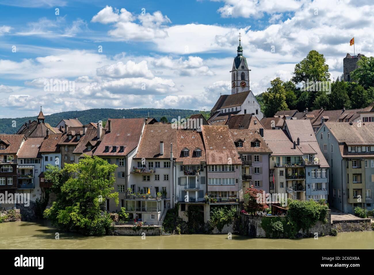 Laufenburg, AG / Switzerland - 4 July 2020: view of the idyllic border town of Laufenburg on the Rhine in northern Switzerland Stock Photo