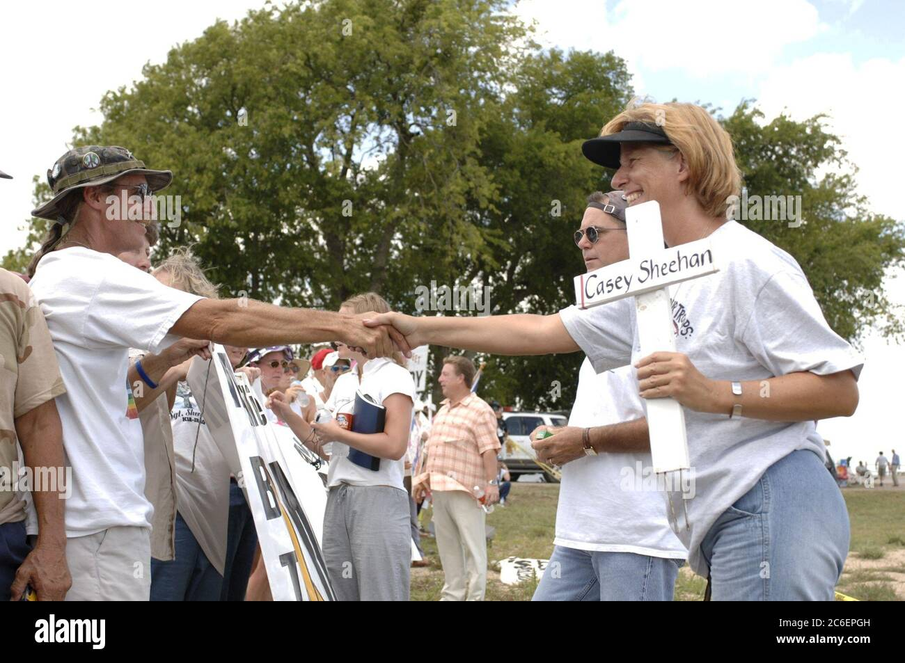 """Crawford, Texas August 12, 2005:  Anti-war protester Cindy Sheehan at the protest site known as """"Camp Casey"""" where about 100 protesters against the war in Iraq are holding a vigil during U.S. President Bush's August vacation.  ©Bob Daemmrich/ Stock Photo"""
