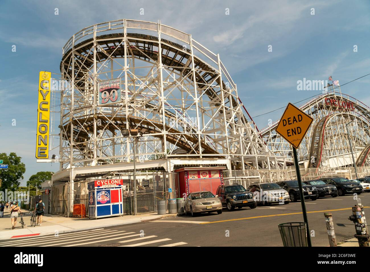 The closed Cyclone Roller Coaster in Coney Island in Brooklyn in New York on the long Independence Day weekend, Sunday, July 5, 2019.  (© Richard B. Levine) Stock Photo