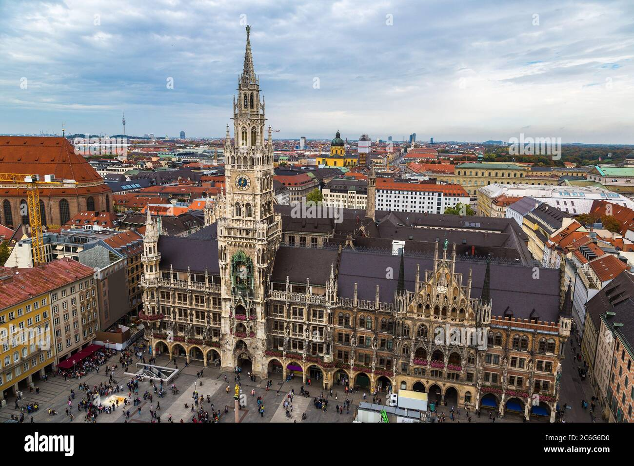 Aerial view on Marienplatz town hall in Munich, Germany Stock Photo