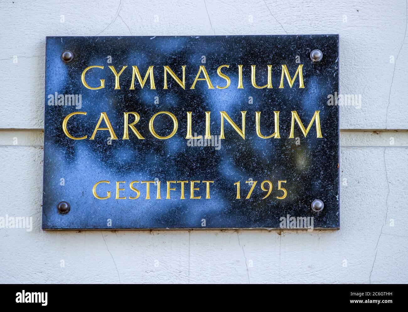 Neustrelitz, Germany. 23rd June, 2020. The door sign at the Gymnasium Carolinum donated 1795 in Neustrelitz. Credit: Jens Büttner/dpa-Zentralbild/ZB/dpa/Alamy Live News Stock Photo