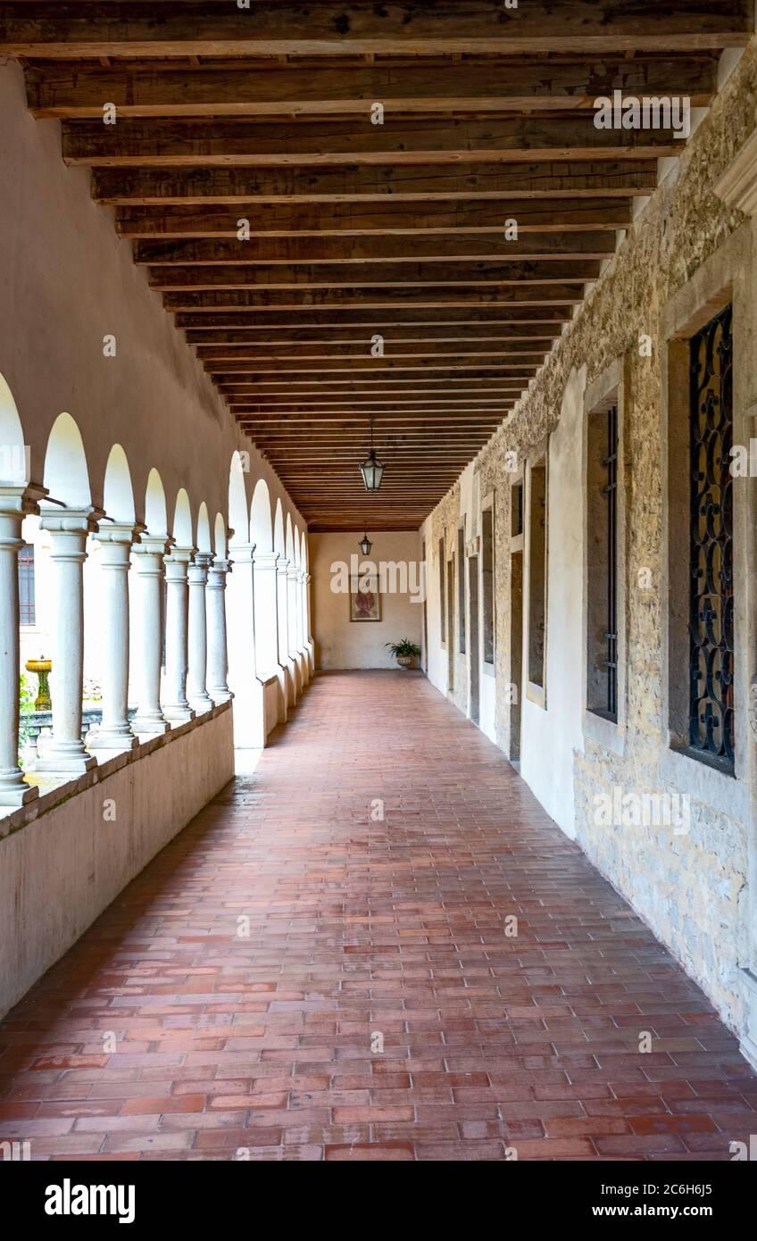 Follina, Italy, the balcony of the Cistercian Abbey of Santa Maria Stock Photo