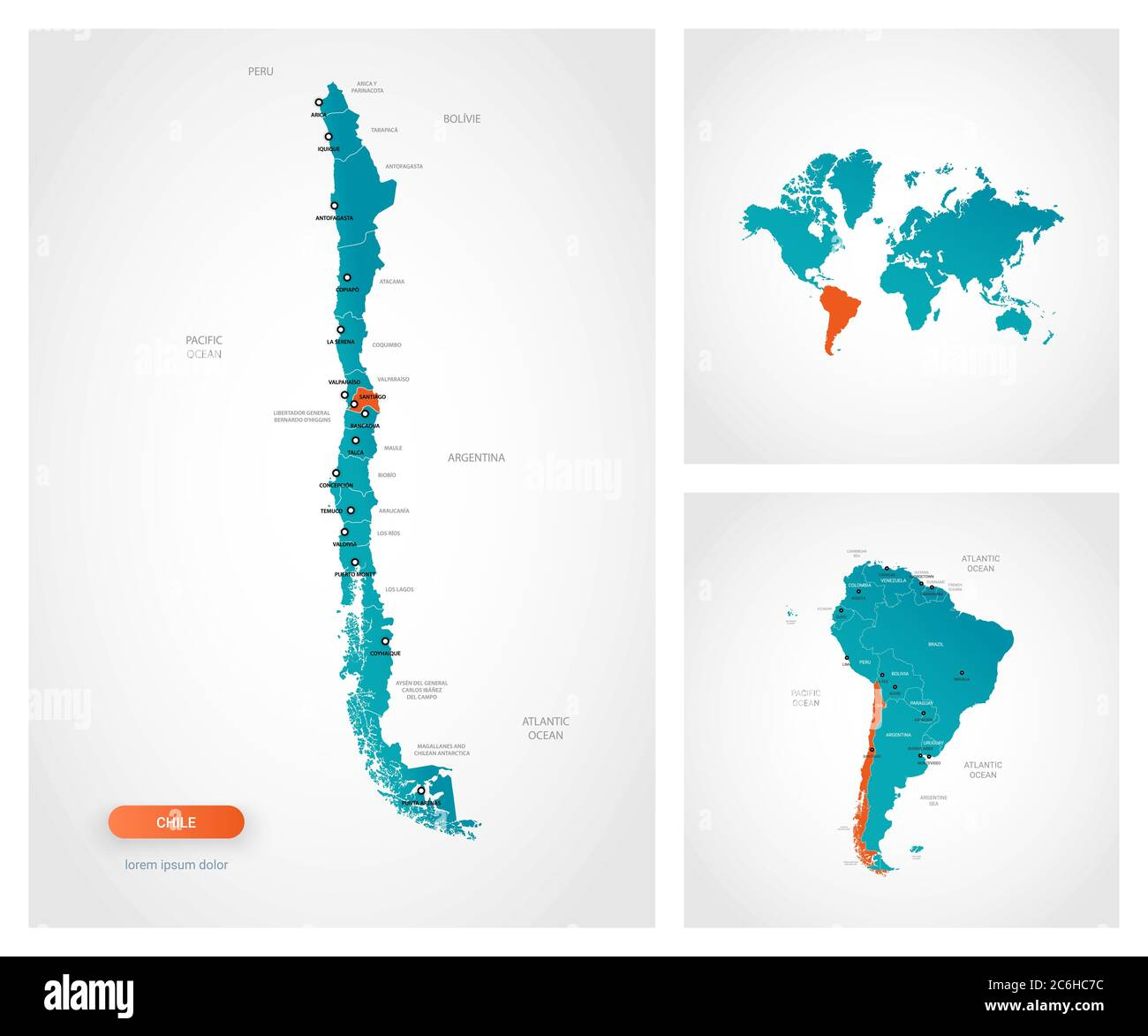 Editable Template Of Map Of Chile With Marks Chile On World Map And On South America Map Stock Vector Image Art Alamy