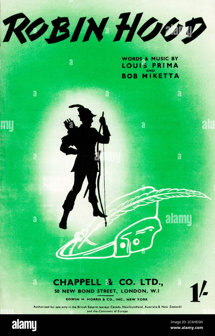 Robin Hood, 1944 music sheet for the song by Louis Prima and Bob Miketta Stock Photo