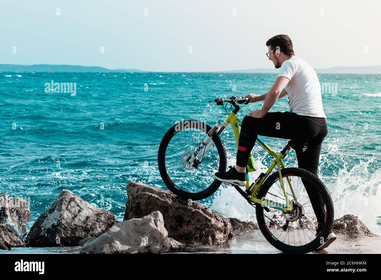 Man Standing Pose With Cycle High Resolution Stock Photography And Images Alamy