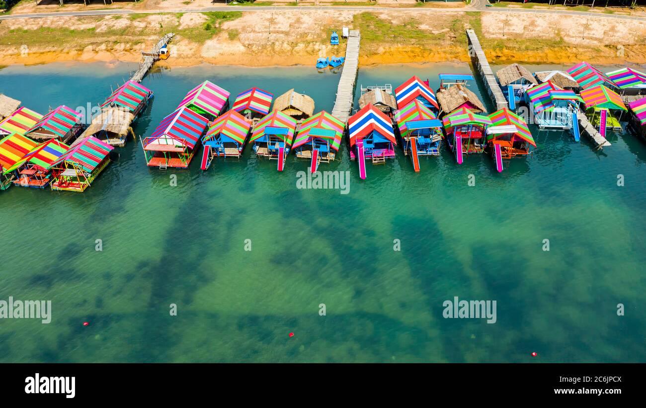 Amazing bird eyes view of Thunggula lake in Surin. Maldives Thailand. Stock Photo