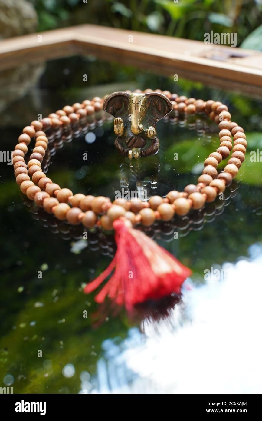 Ganesha deity on glas Stock Photo