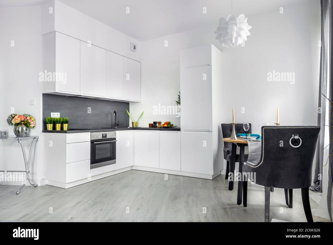 Modern Interior Design Living Room With Open Kitchen In Small Apartment Stock Photo Alamy