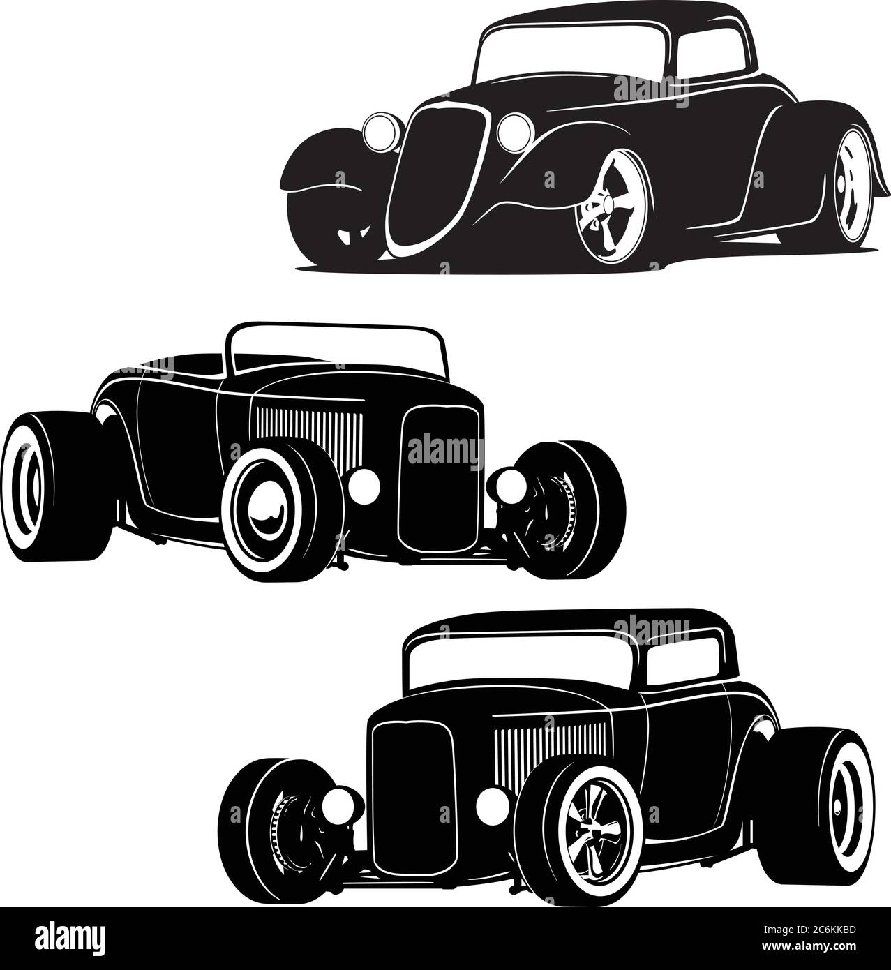 Hot Rod Muscle Cars Silhouette Set Isolated Vector Illustration Stock Vector Image Art Alamy