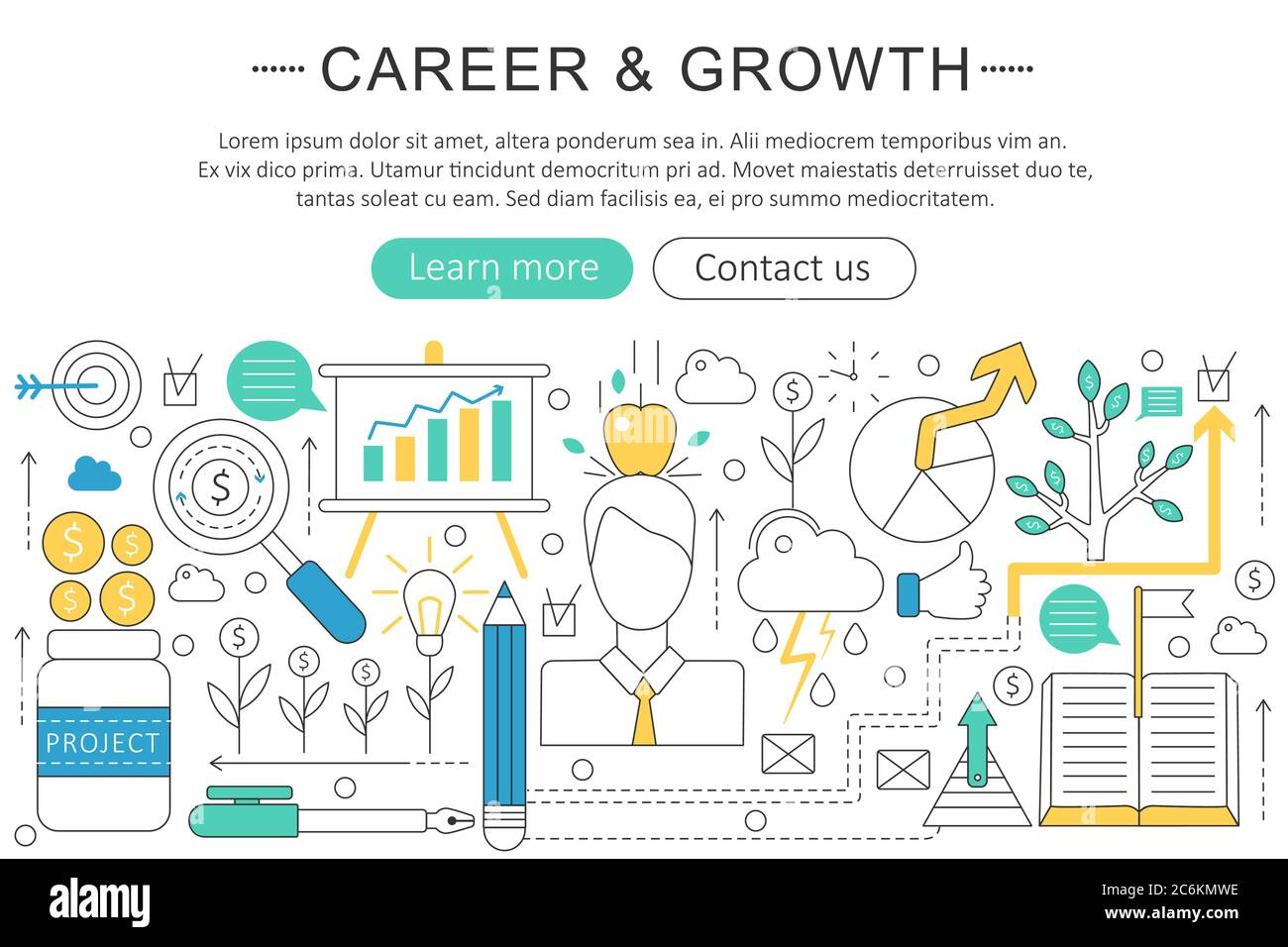 Vector Elegant Thin Line Flat Modern Career And Growing Concept Website Header Banner Elements Layout Presentation Flyer And Poster Stock Vector Image Art Alamy
