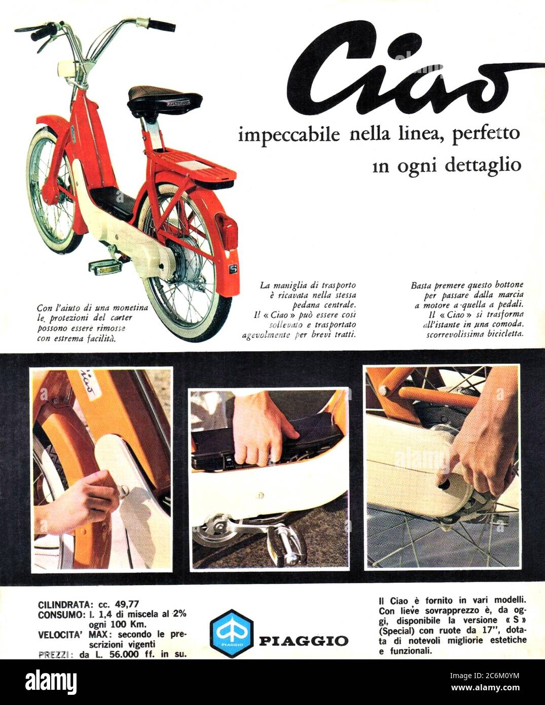1969 , ITALY : The celebrated italian scooter CIAO 50  by PIAGGIO industry , advertising . - SCOOTERS - motorino - moto -  INDUSTRIA - INDUSTRIALE - HISTORY -  foto storica - INDUSTRIALE - INDUSTRY - INDUSTRIA - ADVERTISING - pubblicità - moto - motociclismo - motorcycle - motoscooter - ANNI SESSANTA - '60 - 60's --- Archivio GBB Stock Photo