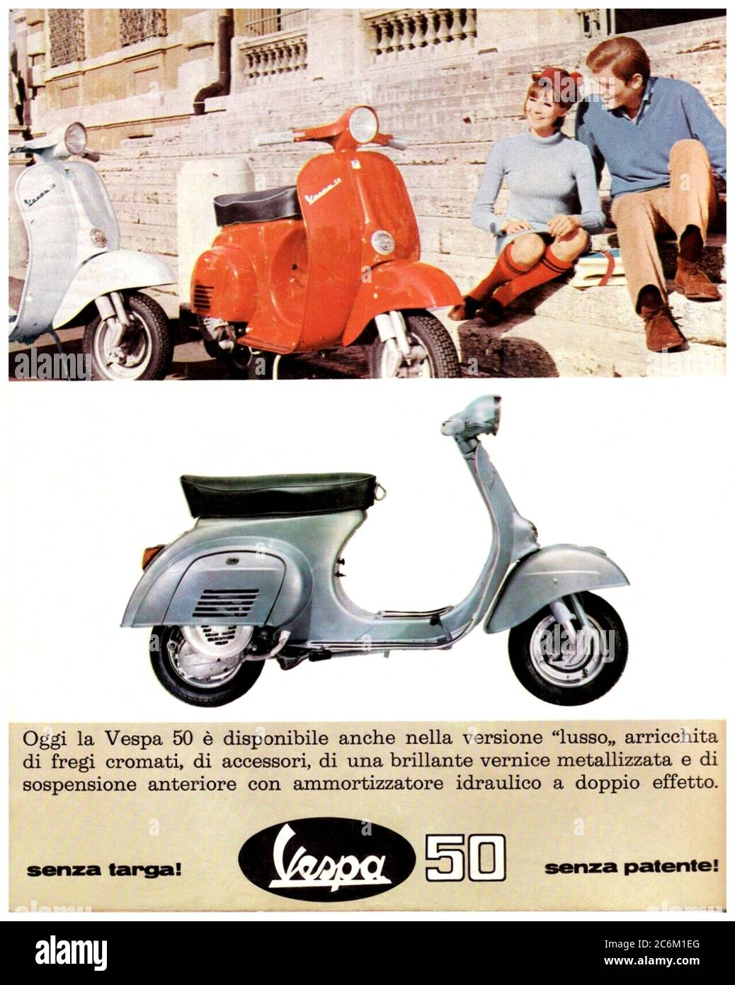 1967 , ITALY : The celebrated italian scooter VESPA 50 LUSSO  by PIAGGIO industry , advertising . - SCOOTERS - motorino - moto -  INDUSTRIA - INDUSTRIALE - HISTORY -  foto storica - INDUSTRIALE - INDUSTRY - INDUSTRIA - ADVERTISING - pubblicità - moto - motociclismo - motorcycle - motoscooter - ANNI SESSANTA - '60 - 60's --- Archivio GBB Stock Photo