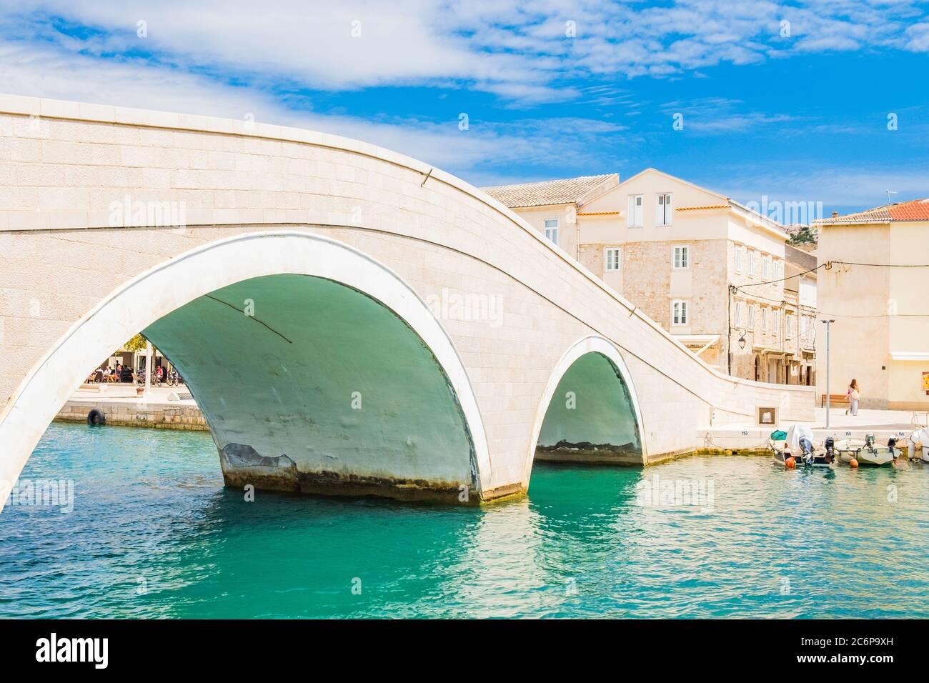 Beautiful town of Pag in Dalmatia, Croatia, view of marina and old stone bridge Stock Photo