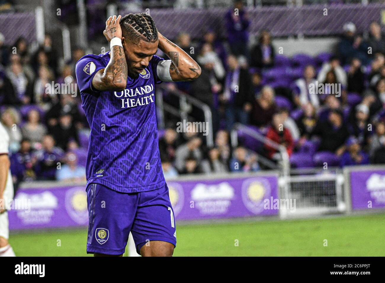 Orlando City SC player Junior Urso dissapointed after almost making a goal at Exploria Stadium on Saturday February 29, 2020.  Photo Credit:  Marty Jean-Louis Stock Photo
