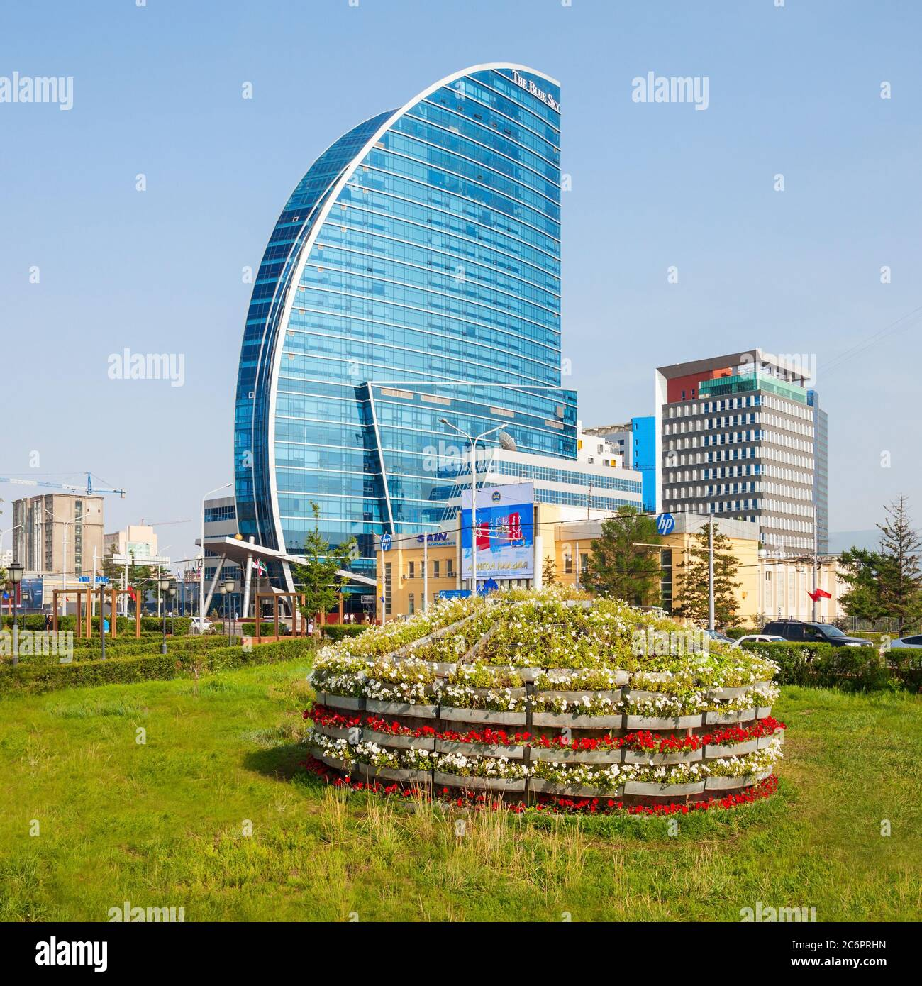 ULAANBAATAR, MONGOLIA - JULY 12, 2016: The Blue Sky Tower is located in Ulaanbaatar, Mongolia. The skyscraper is used as office space, conferences, a Stock Photo