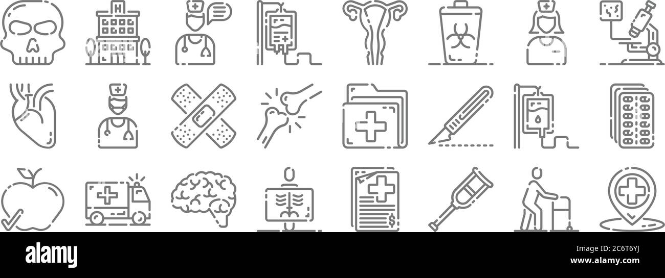 medical line icons. linear set. quality vector line set such as location, crutches, radiology, healthy food, blood bag, adhesive, microscope, ovaries, Stock Vector