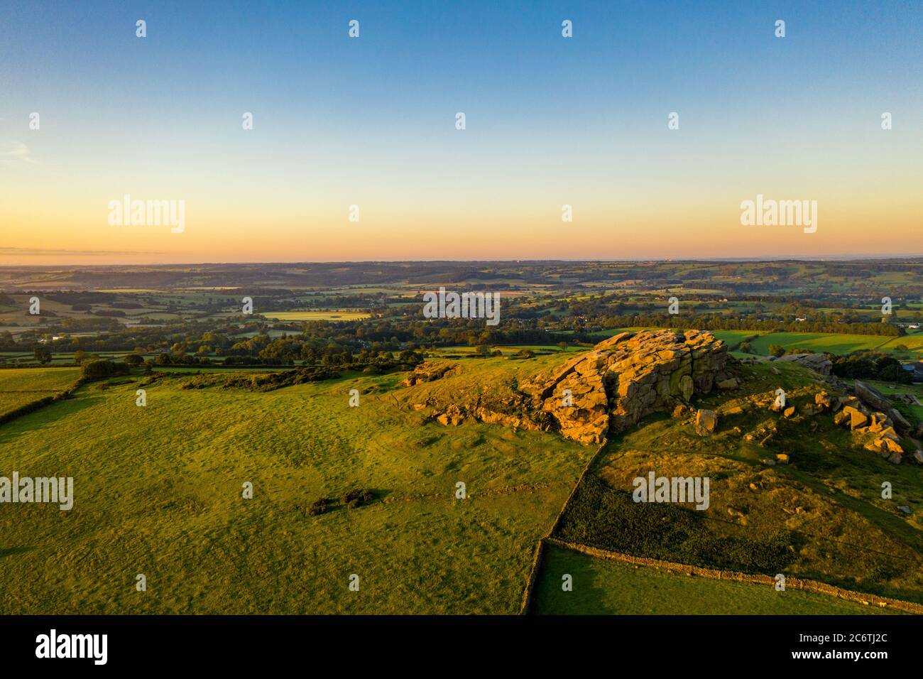 Almscliffe Crag, or Almscliff Crag is a Millstone Grit outcrop at the top of a small hill near the village of North Rigton,near Leeds and Harrogate Stock Photo