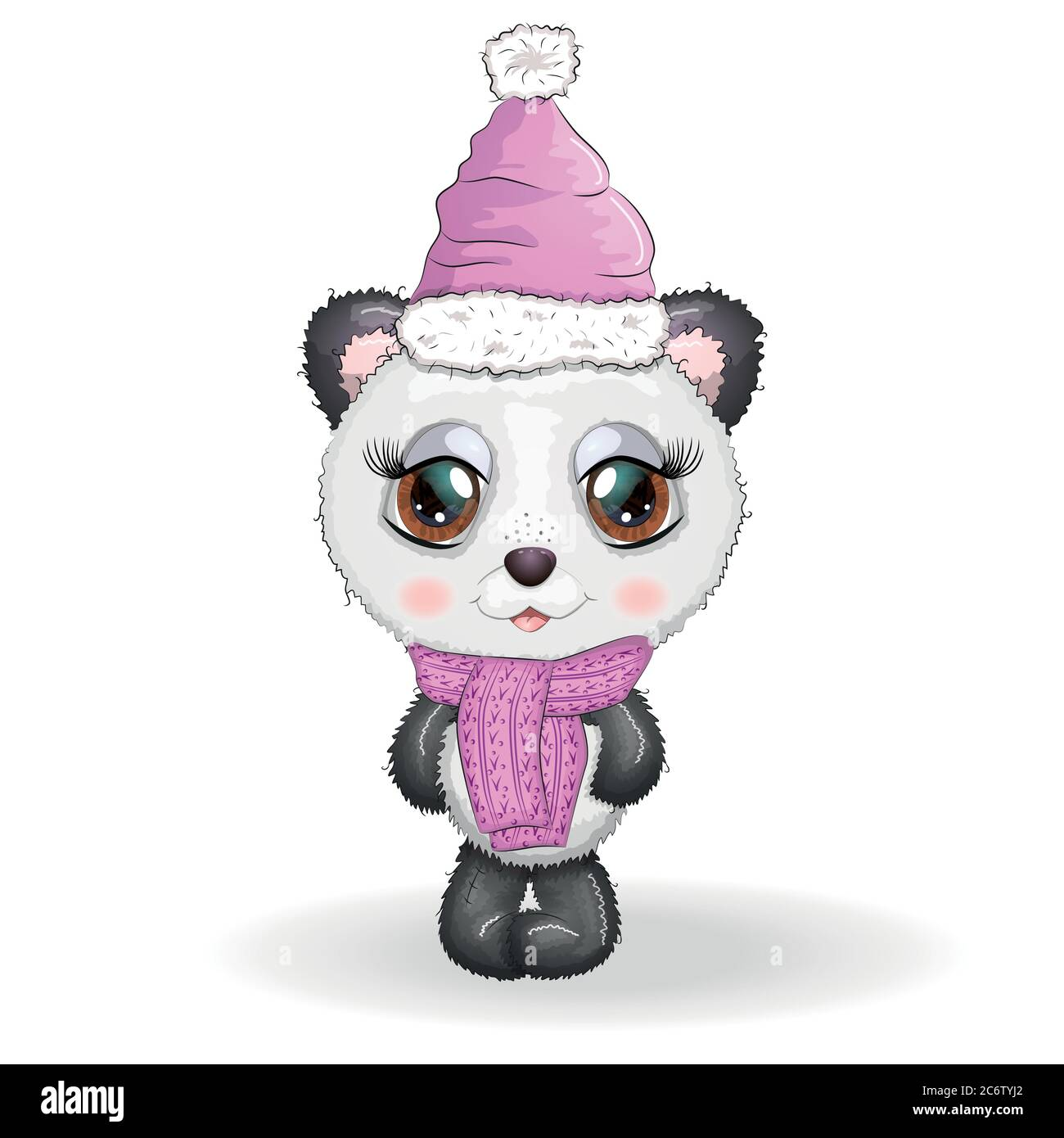 Cute Cartoon Panda Bear With Big Eyes In A Scarf And Hat Boy And