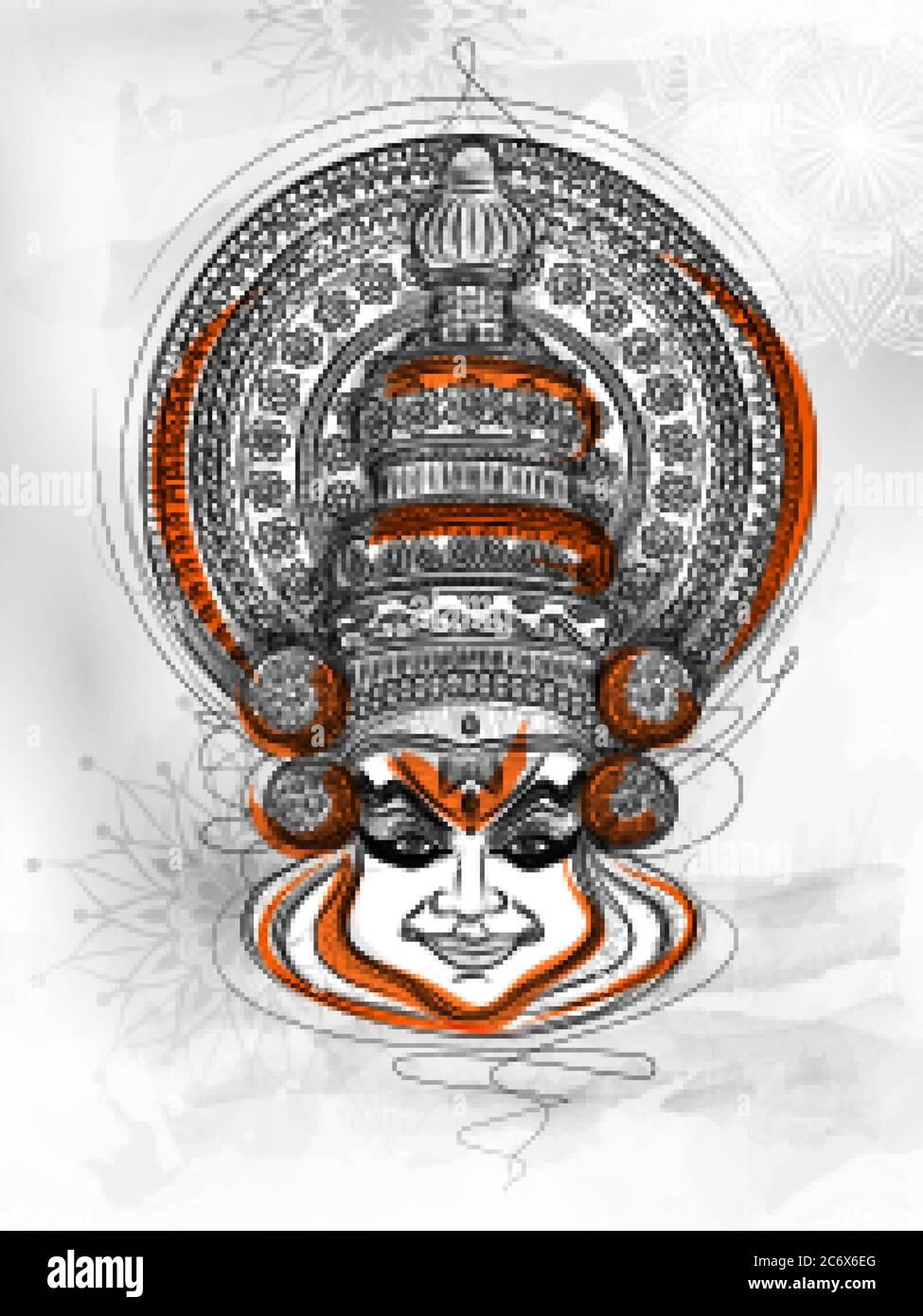 Kathakali Dancer On Background For Happy Onam Festival Of South India Kerala Stock Vector Image Art Alamy