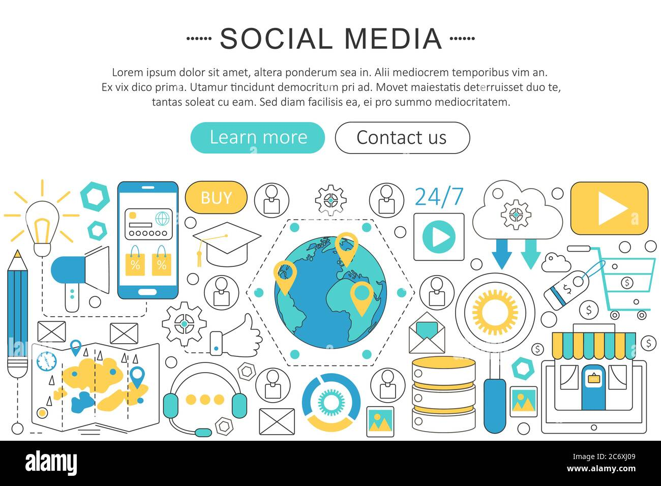 Vector Modern Line Flat Design Social Media Concept Social Media Icons Website Header App Design Poster Banner Stock Vector Image Art Alamy