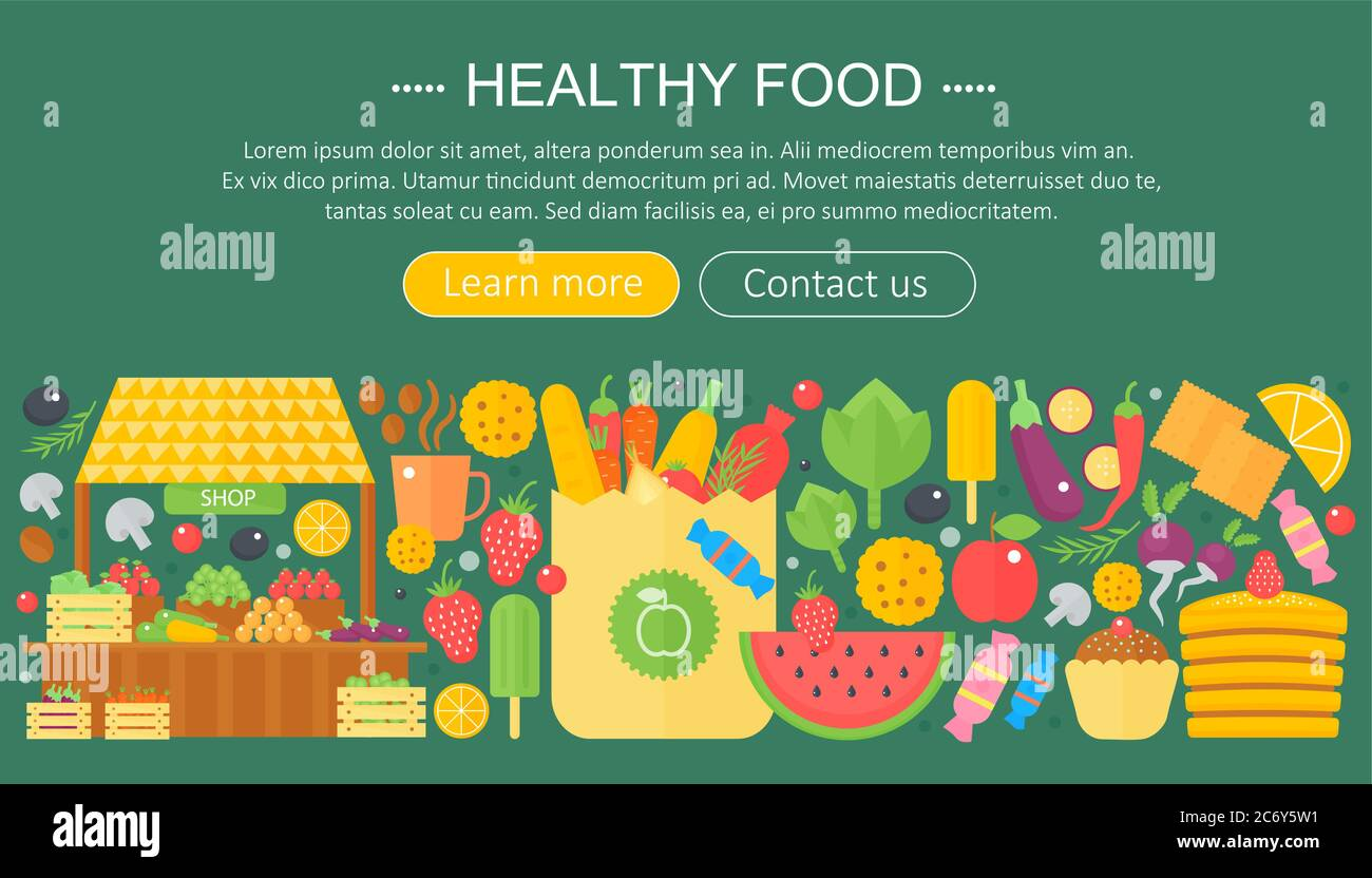 Cooking Collection Healthy Food Infographics Template Design Web Header Elements Poster Banner Food Vector Illustration Stock Vector Image Art Alamy