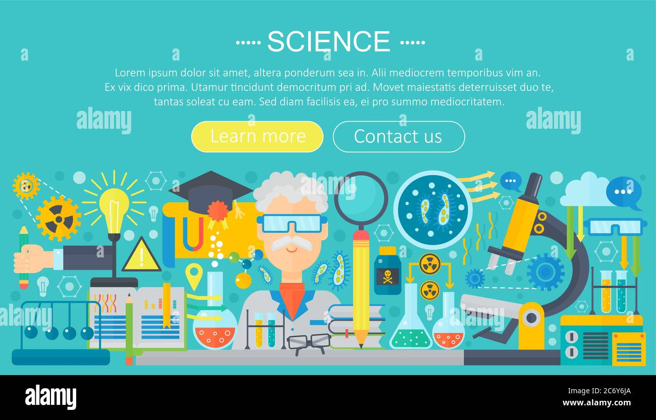 Flat design concept of science. Horizontal banner with scientist Within Science Fair Banner Template