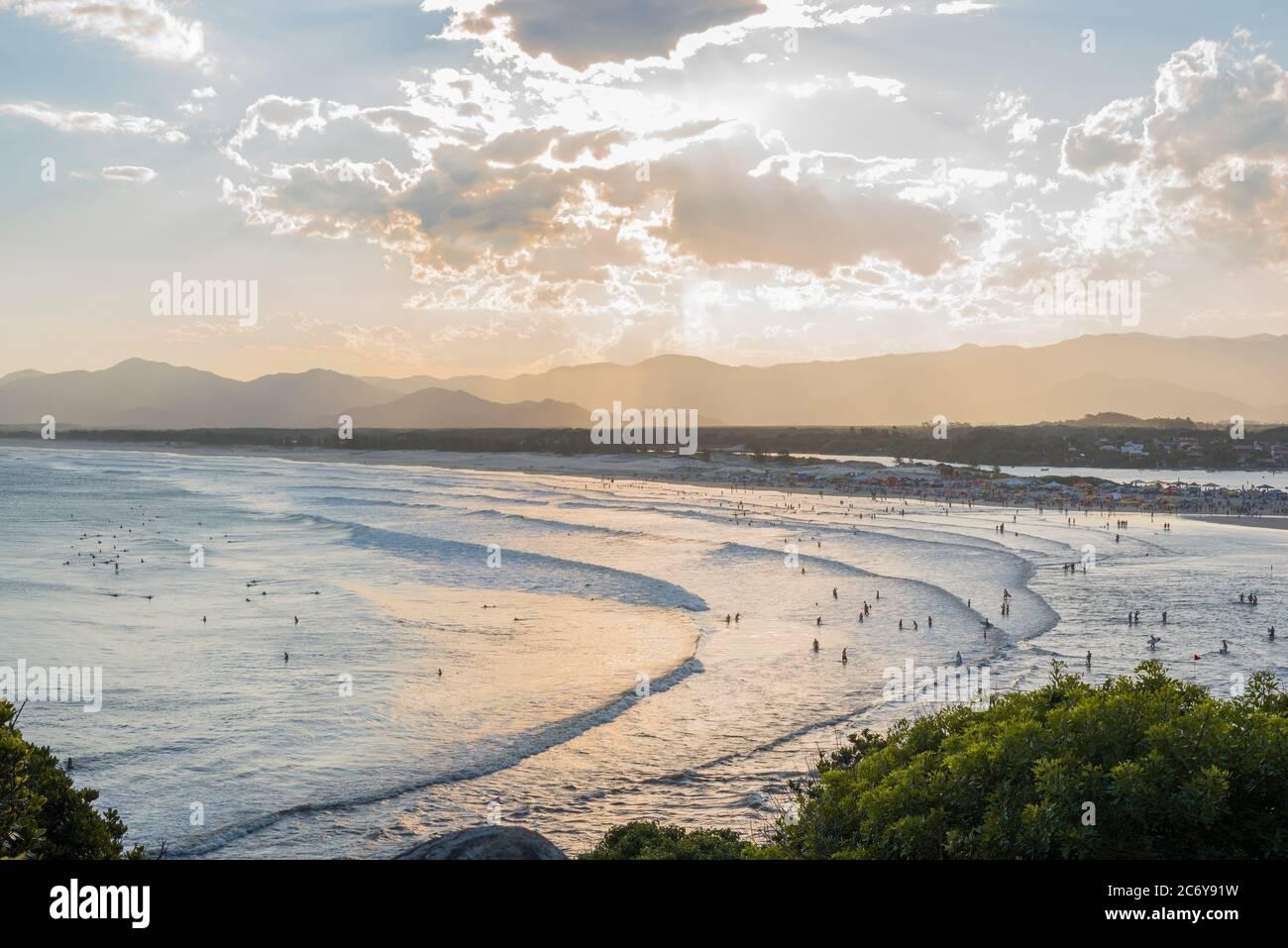 Sunset at Guarda do Embaú beach Stock Photo