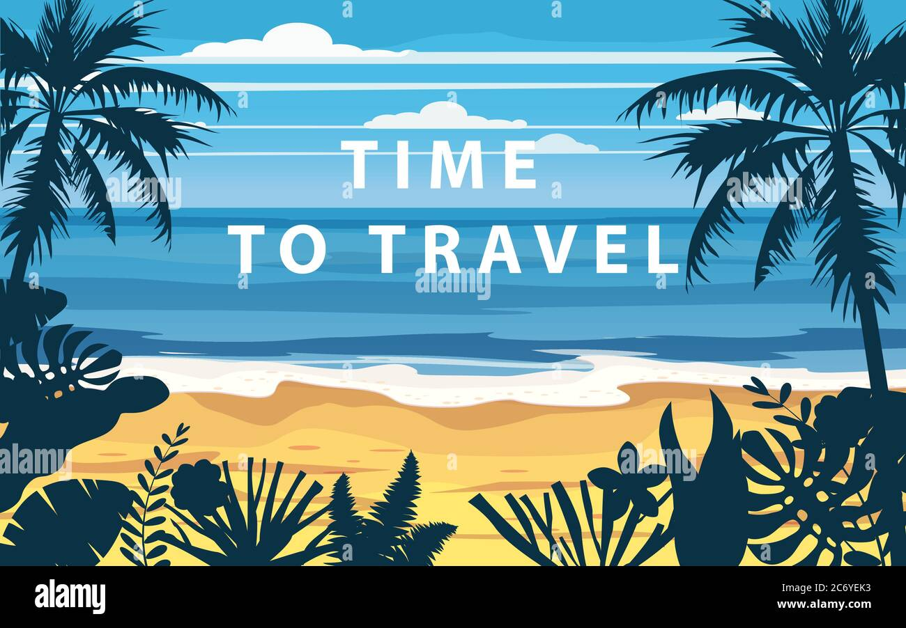 Time To Travel Summer Holidays Vacation Seascape Landscape Seascape Ocean Sea Beach Coast Palm Leaves Retro Tropical Leaves Palm Trees Template Stock Vector Image Art Alamy Crown shafts of rhopalostylis sapida and. alamy