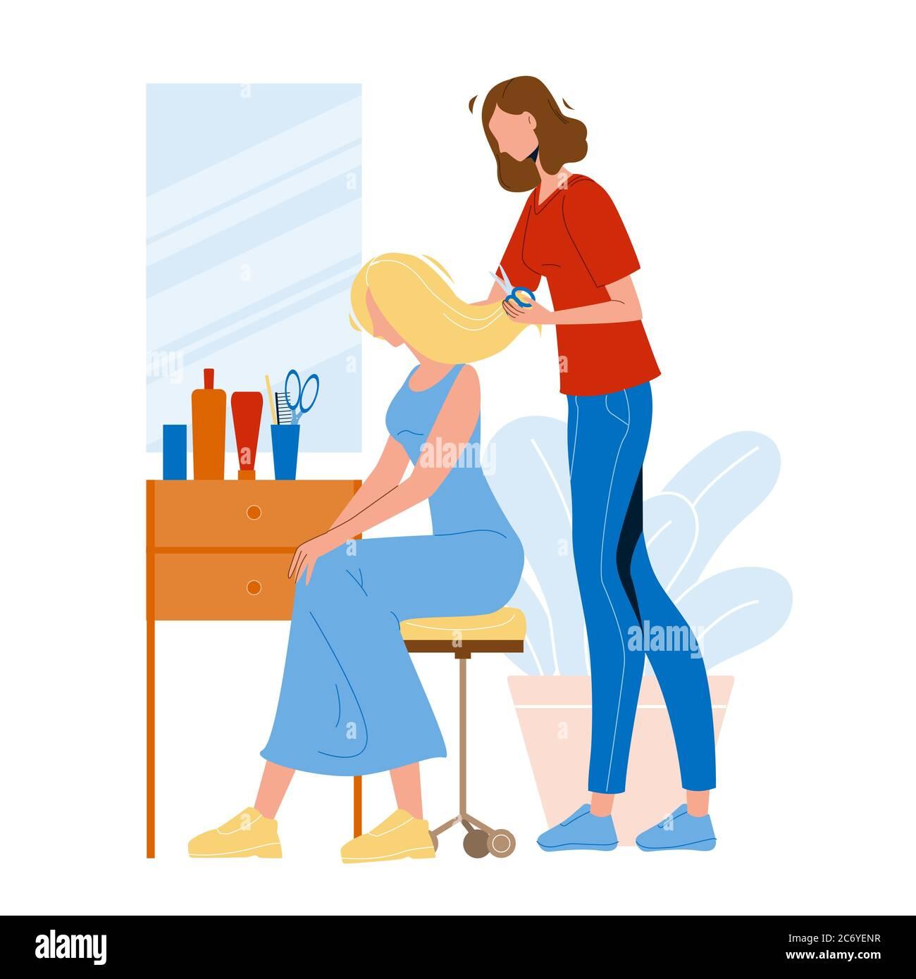 Hairdresser Trimming Girl Hair Beauty Salon Vector Stock Vector Image Art Alamy