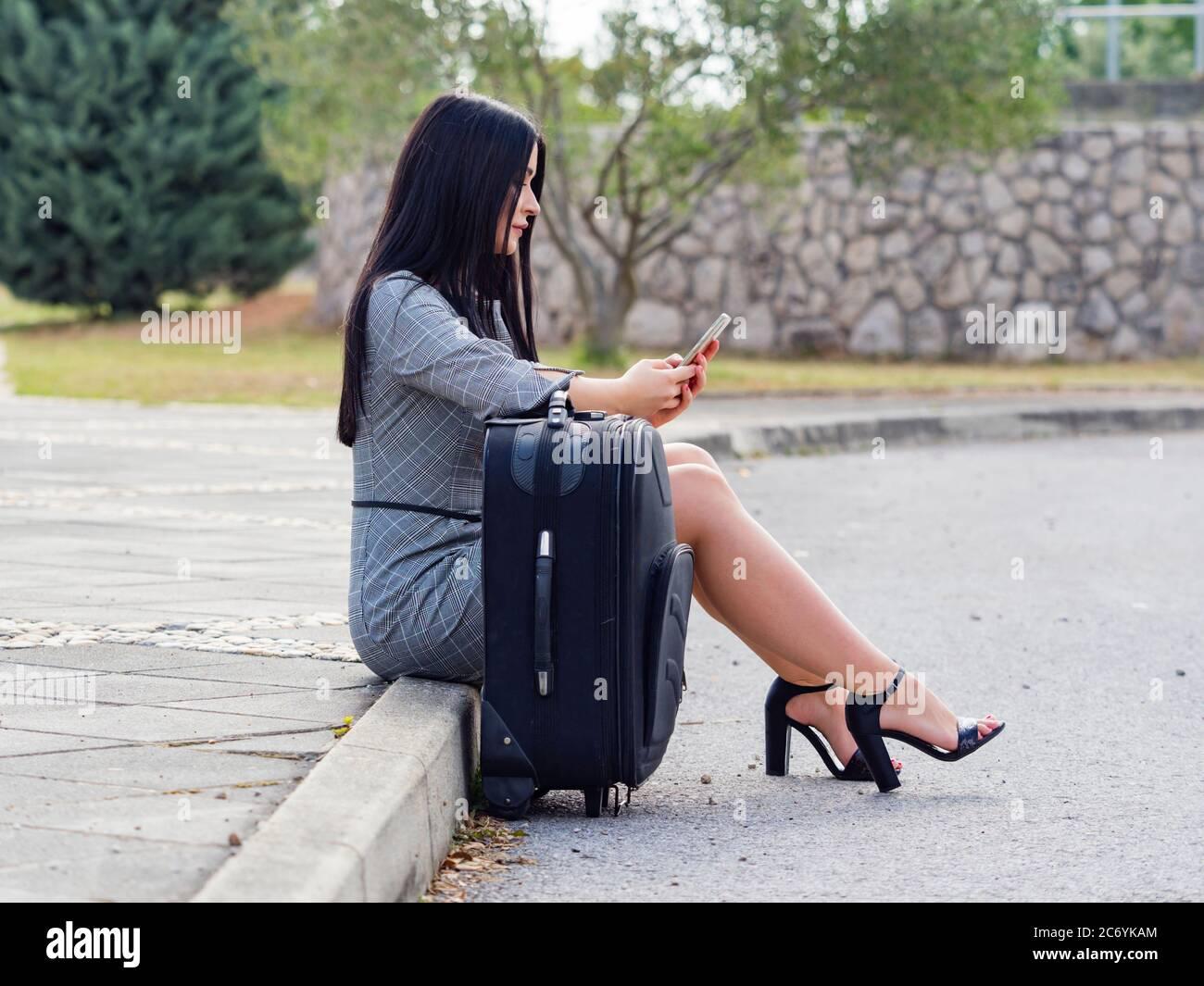 Aka young woman legs heels Stock Photo