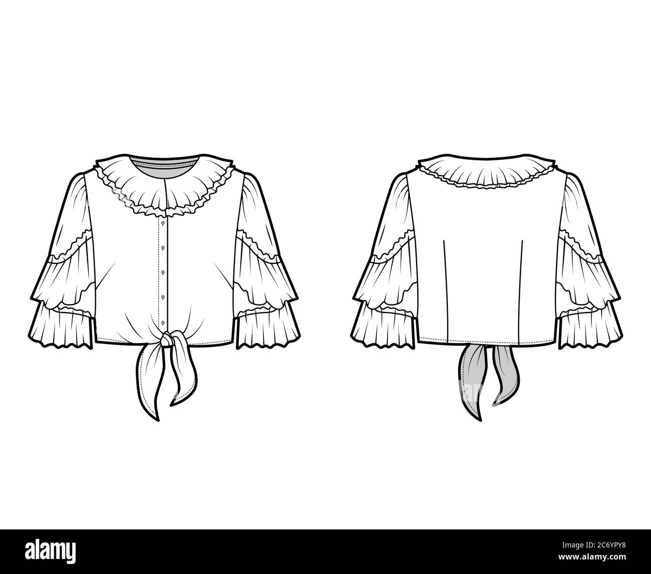 Cropped Tie Front Blouse Technical Fashion Illustration With Ruffled Collar And Sleeves Front Button Fastening Flat Apparel Shirt Template Front Back White Color Women Men And Unisex Cad Mockup Stock Vector Image