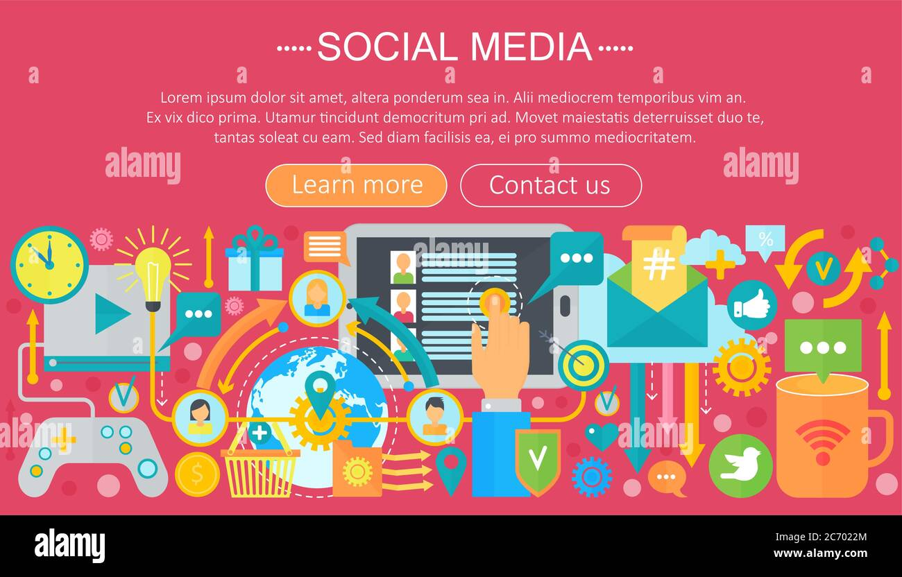 Modern Flat Design Social Media Concept Social Media Icons Website Header App Design Poster Digital Marketing Infographics Template Vector Illustration Stock Vector Image Art Alamy