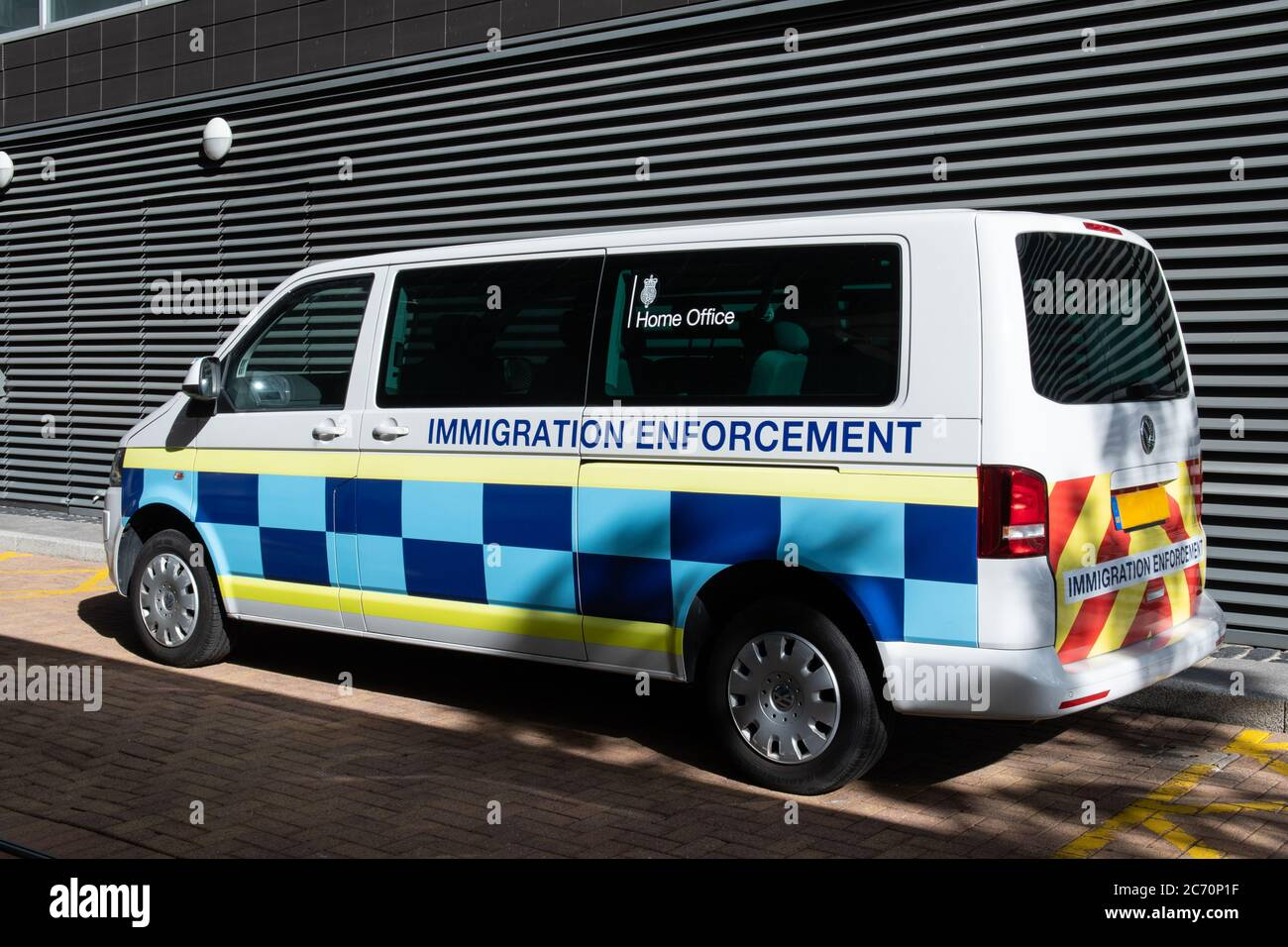 Van of UK Home Office for Immigration Enforcement. Illegal immigrants. Law and order. Stock Photo