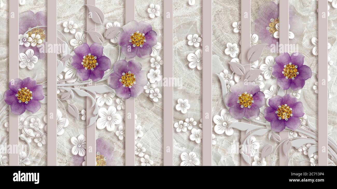 3d Wallpaper Gold Jewelry Flowers Marble Background Vertical Stripes Stock Photo Alamy