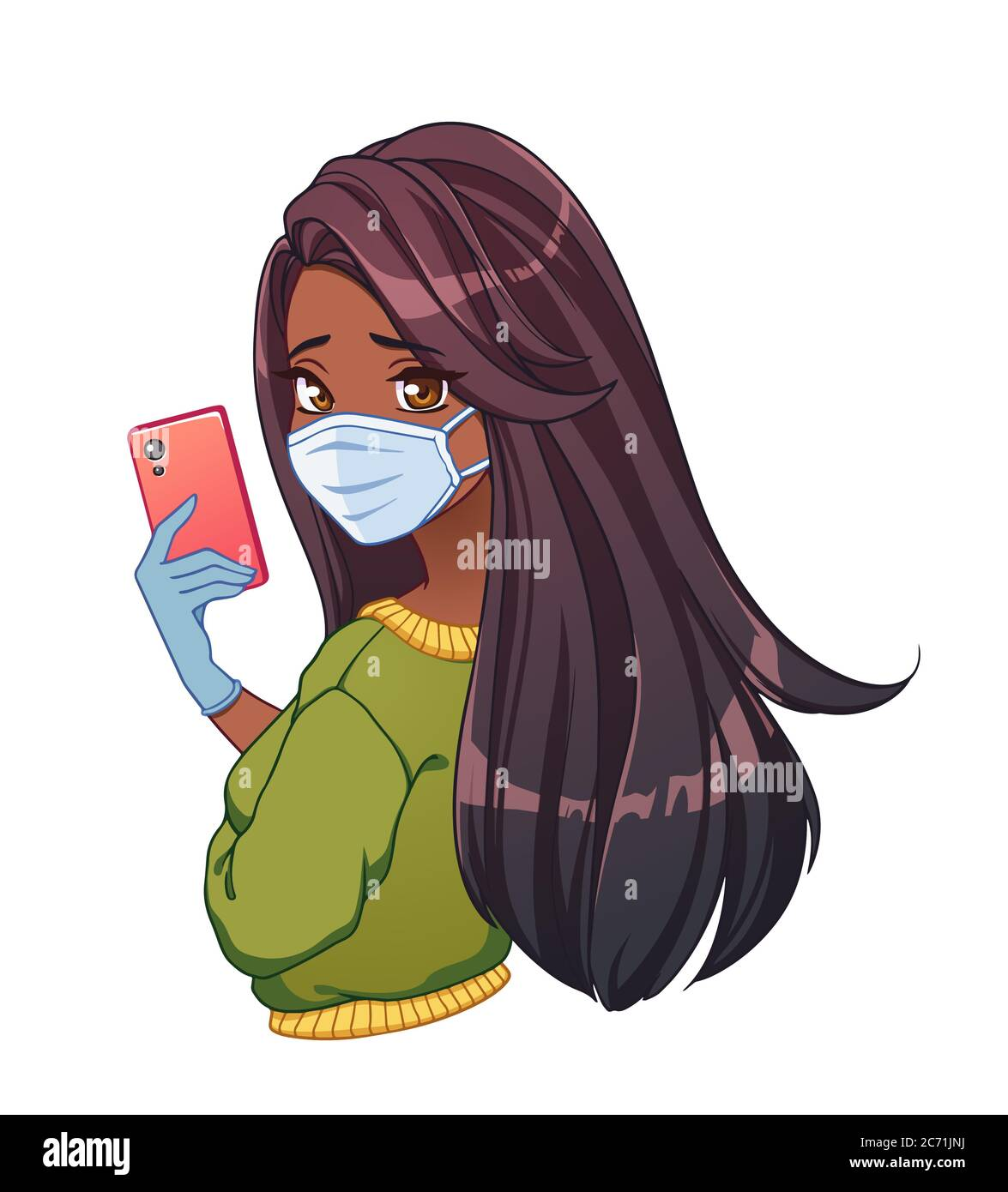 Pretty cartoon girl with tan skin and long black hair taking