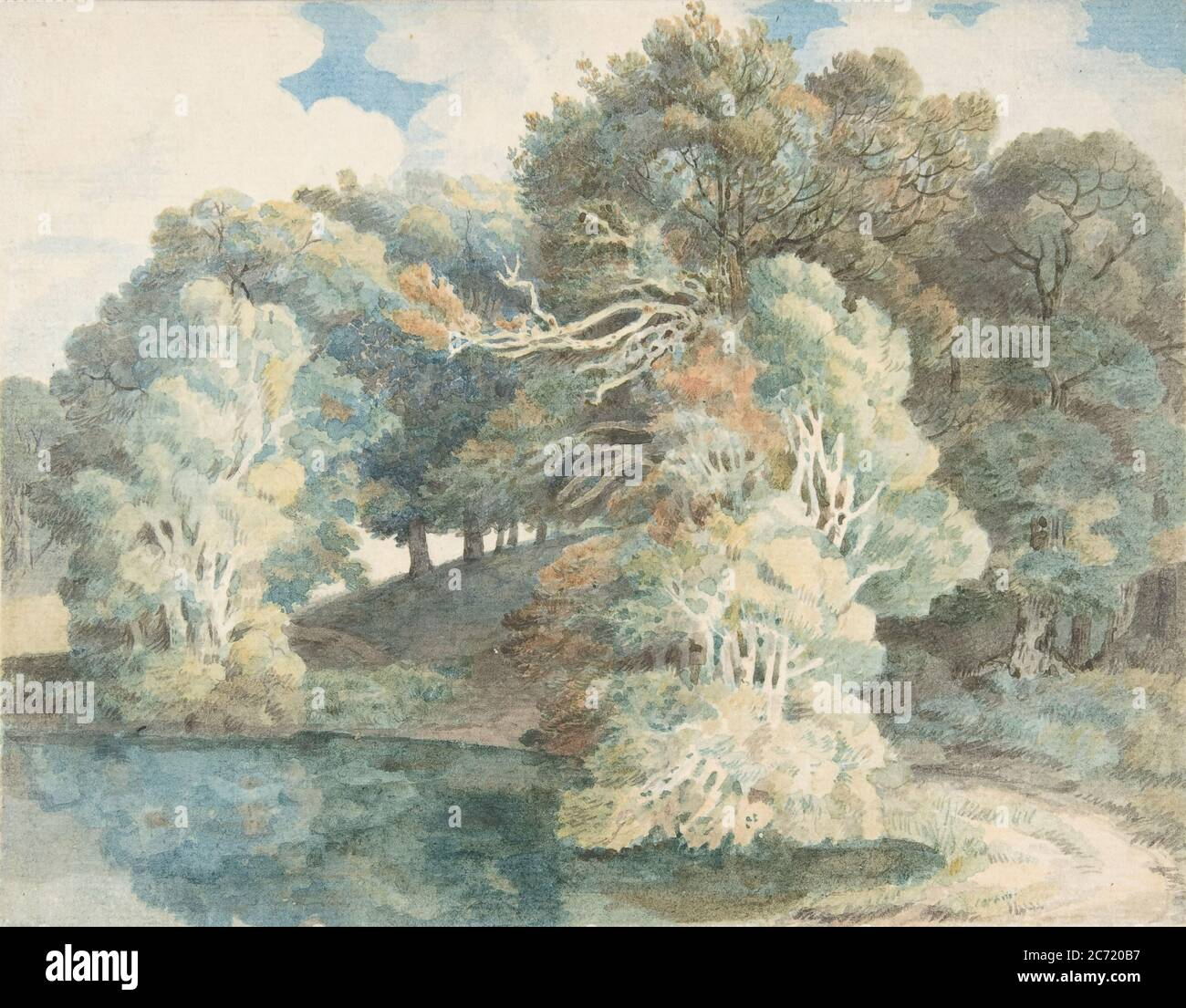 Trees by the Lake, Peamore Park, near Exeter, Devon, 1790-1810. Stock Photo