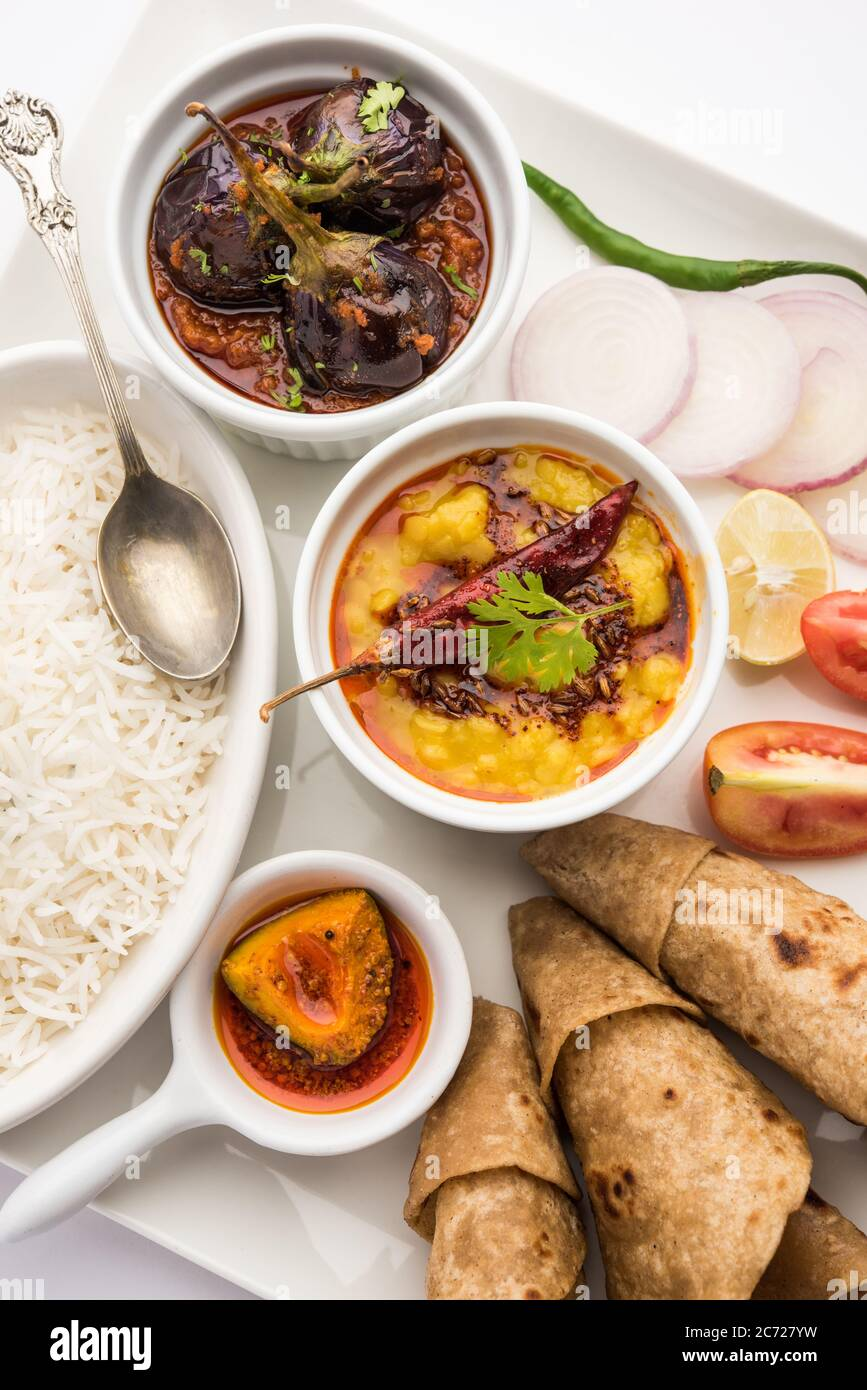 Indian Food Platter Or Vegetarian Thali Includes Dal Fry Rice Chapati And A Type Of Vegetable With Salad Stock Photo Alamy