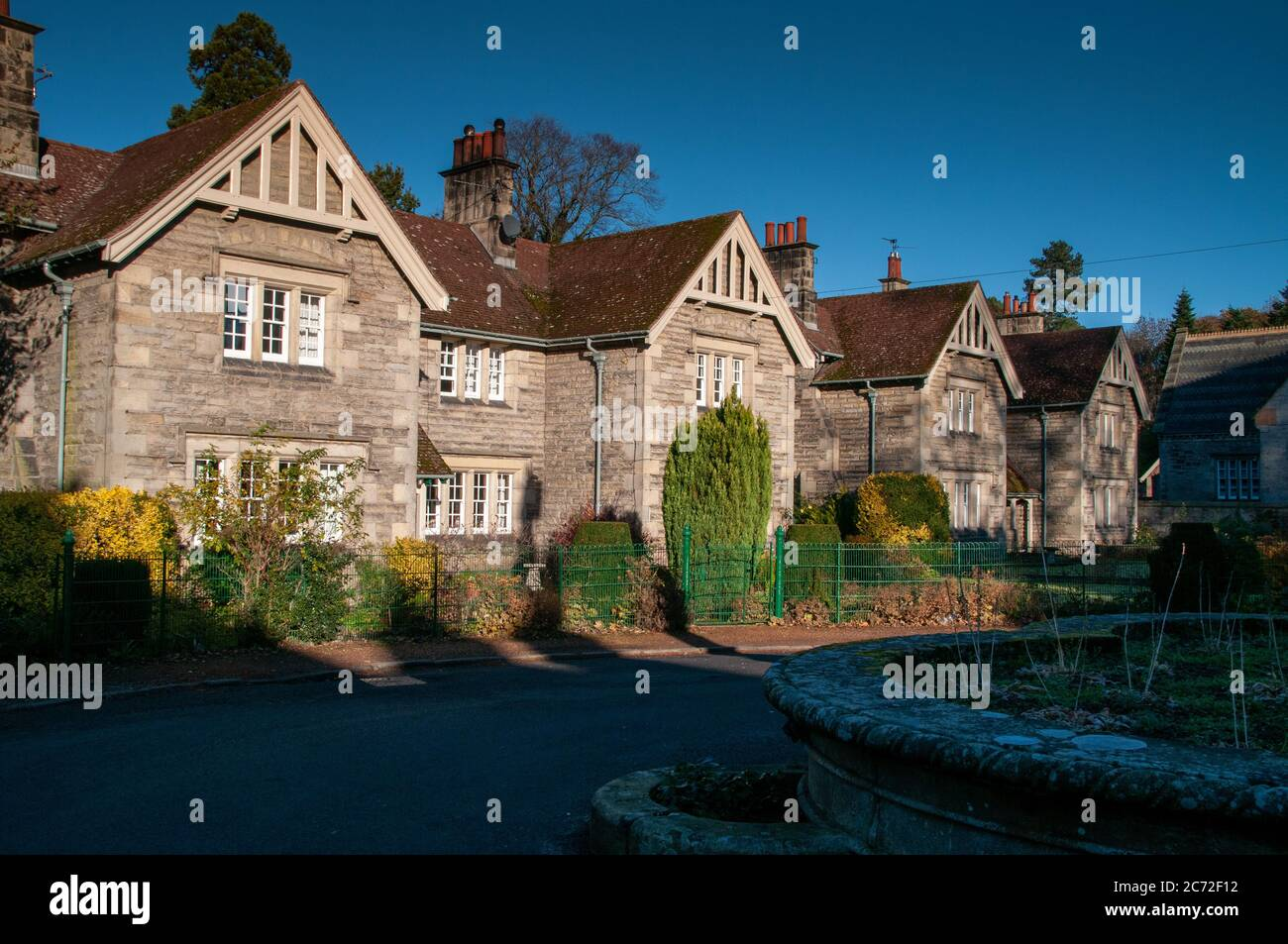 Homes in the model village of Ford built when the village was remodeled by Lady Waterford in the 19th century Stock Photo