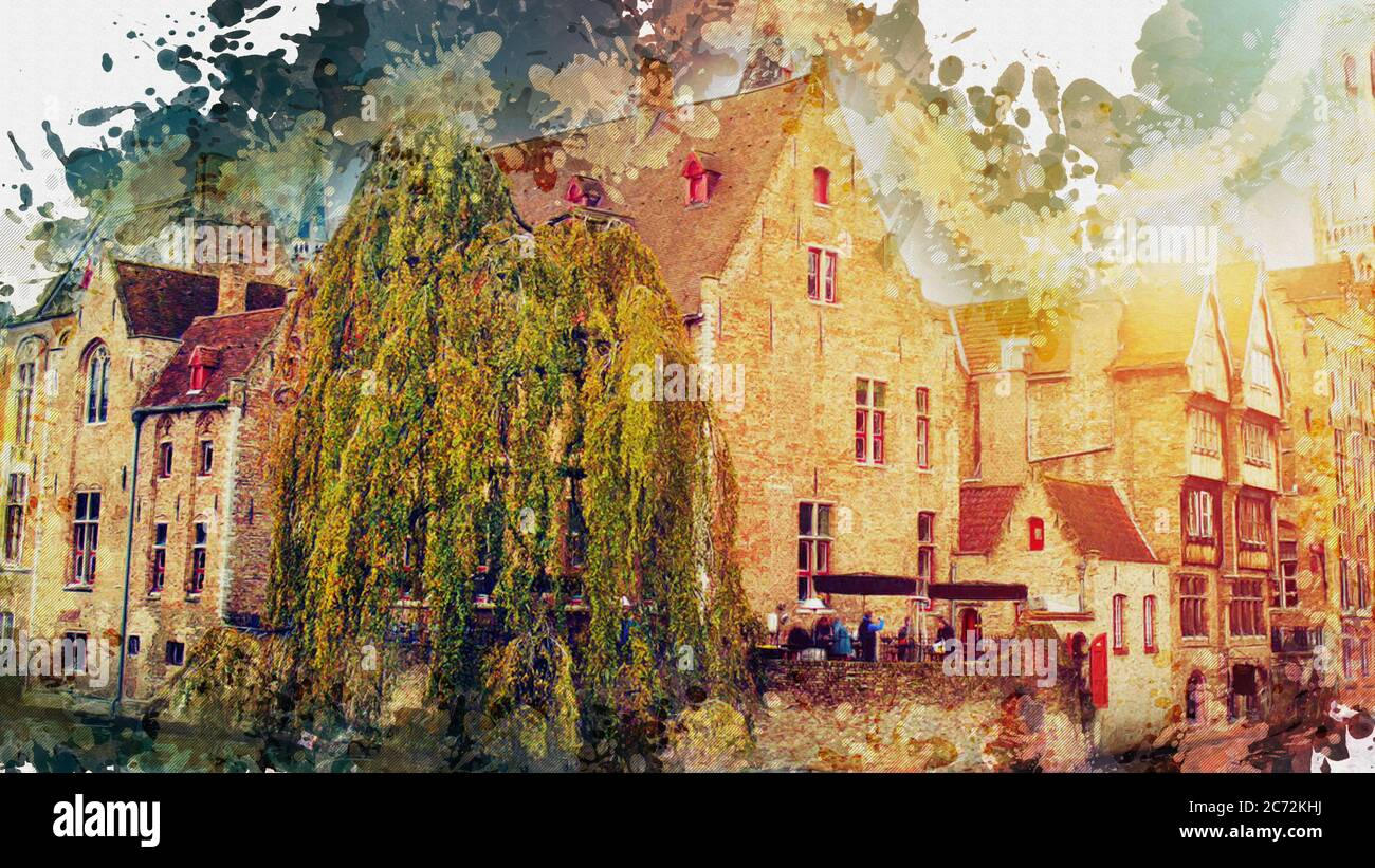 Watercolor Illustration Of A Landscape Of Bruges City In Belgium Artistic Wallpaper Background Or Backdrop Watercolor Landscape With Medieval Const Stock Photo Alamy