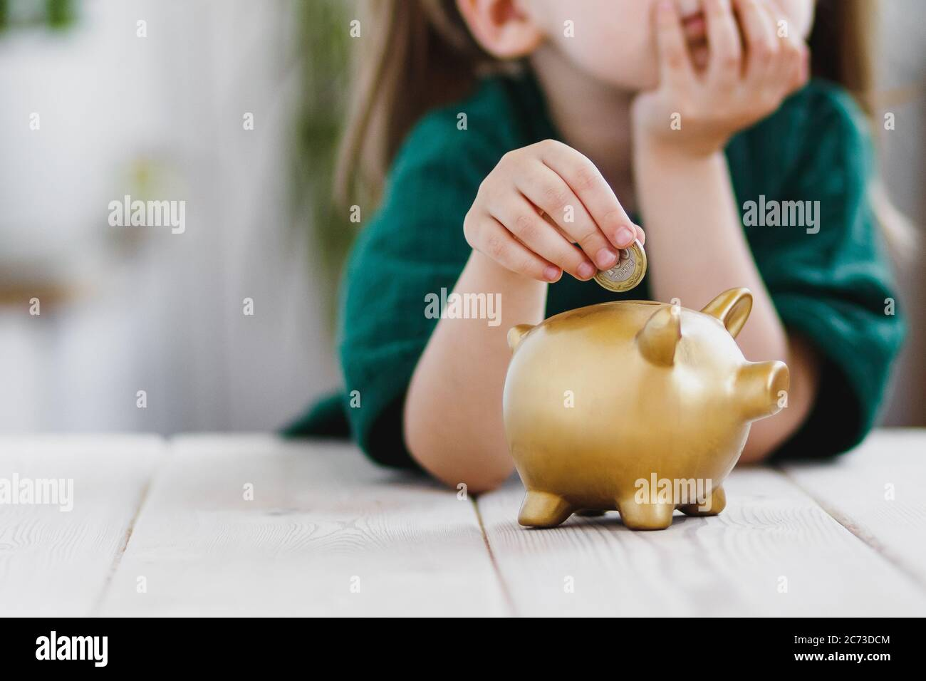 Little girl in green dress thinking about her money spending and putting a coin into a piggy bank. Money saving concept Stock Photo