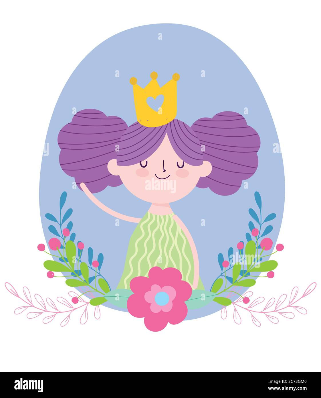 Little Fairy Princess With Gold Crown Flowers Tale Cartoon Vector Illustration Stock Vector Image Art Alamy Free cartoon crown, download free clip art, free clip art. alamy