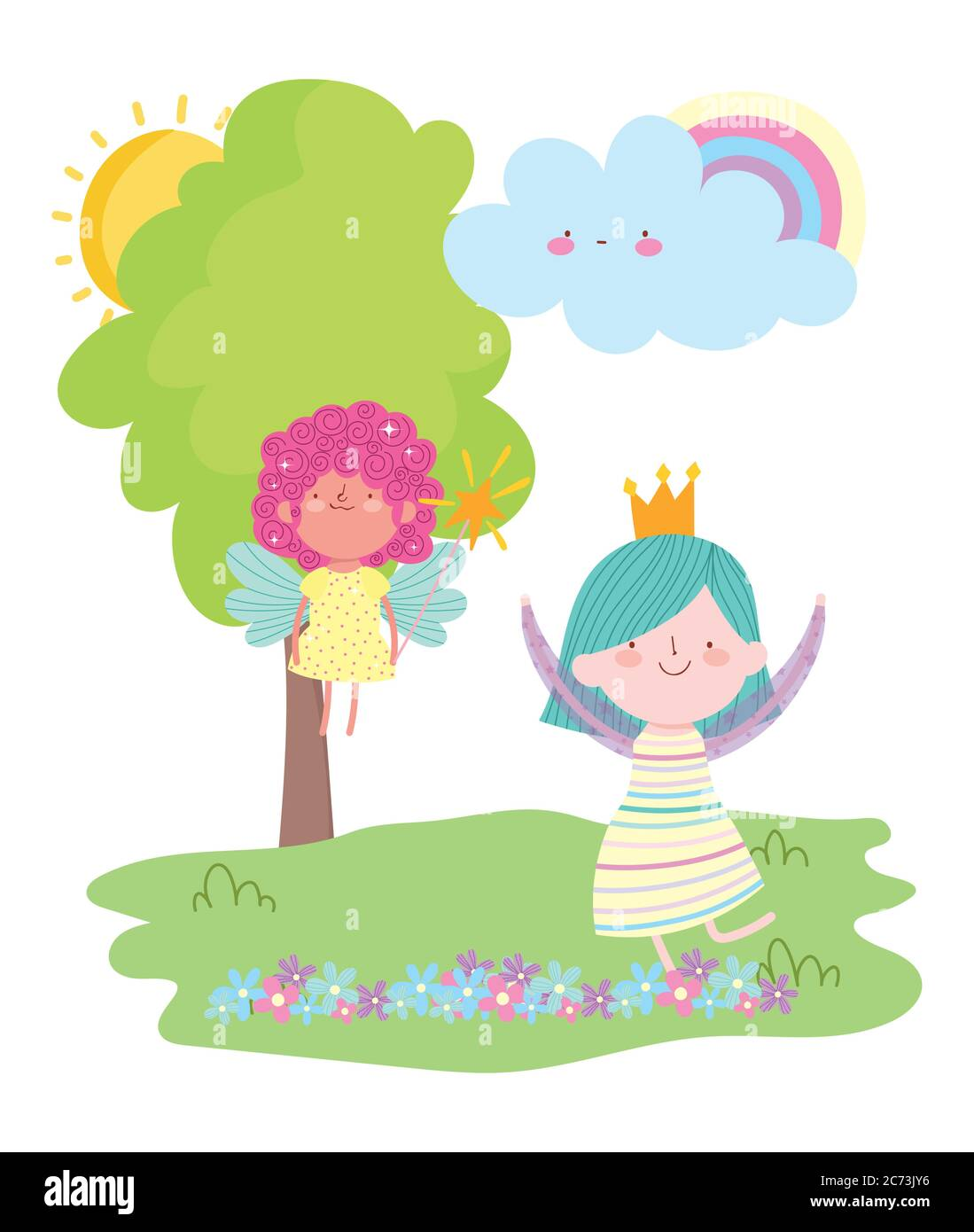 Little Fairy Princess With Magic Wand And Girl With Crown Rainbow Tale Cartoon Vector Illustration Stock Vector Image Art Alamy There are 2084 crown cartoon for sale on etsy, and they cost $29.19 on average. alamy