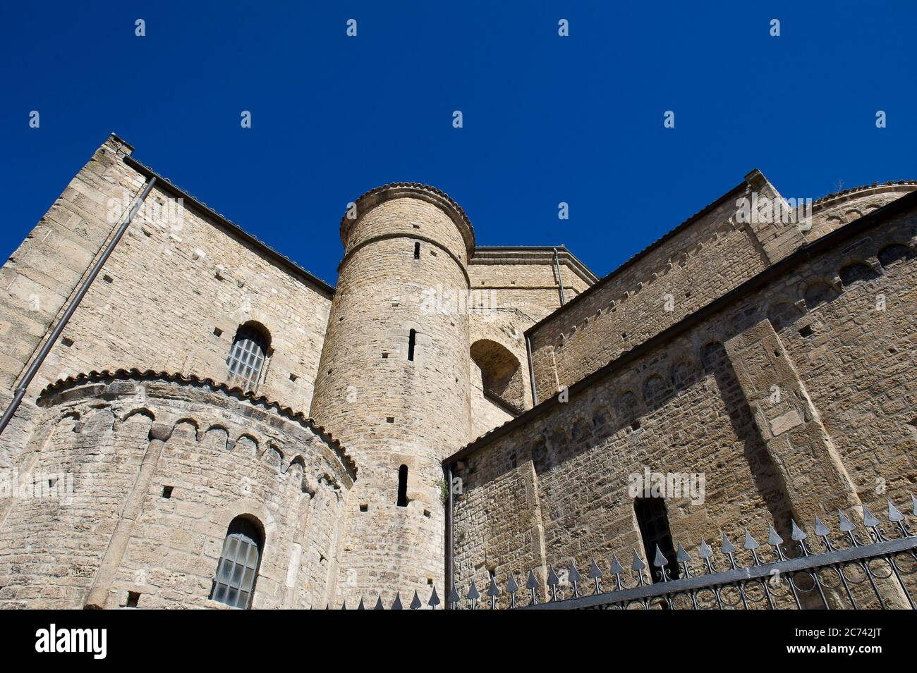 Italy, Basilicata, Acerenza, the Cathedral of Acerenza, dedicated to Santa Maria Assunta and San Canio Bishop in the Romanesque-Gothic style of the 13th chentury ad. Stock Photo