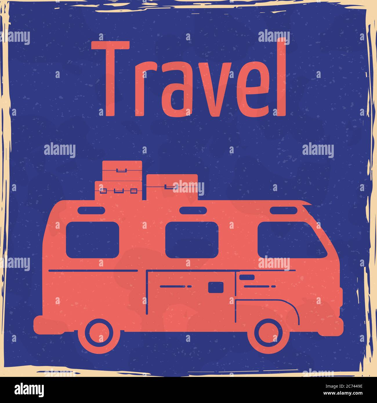 Van Camper Summer vacation vintage poster. Textured grunge effect retro Traveler truck card with text Travel road trip. Vector illustration silhouette Stock Vector