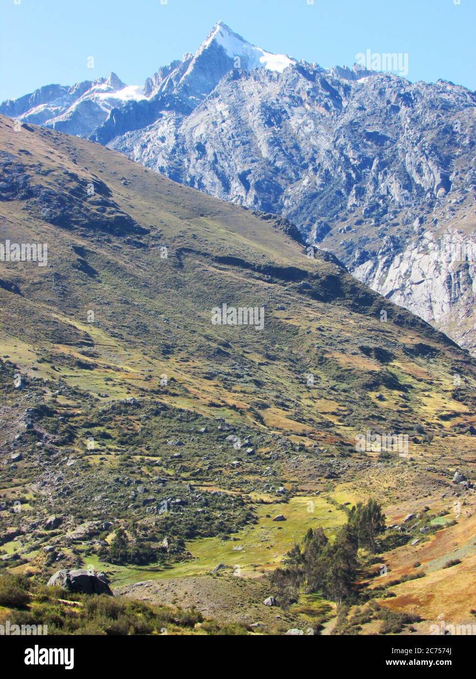 Secluded valleys within the foothills of Huascaran range or Cordillera Blanca, Peru Stock Photo
